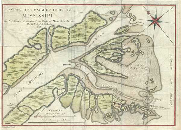 Carte des Embouchures du Mississipi.