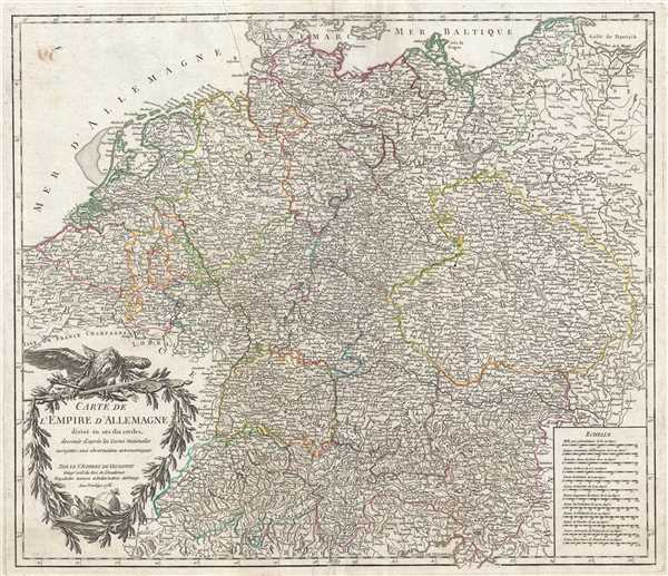 Carte de l'Empire d'Allemagne divisé en ses dix cercles, dessinée d'après les Cartes Nationales assujeties aux observations astronomiques.