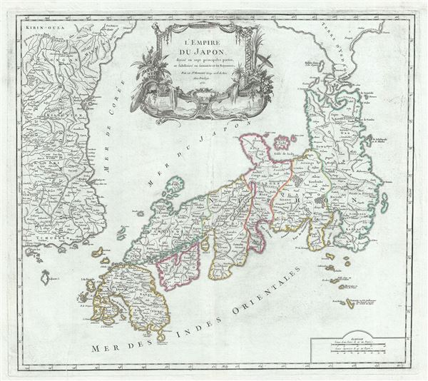 L'Empire du Japon, divise en sept principales parties, et subdivise en soixante et six Royaumes. - Main View