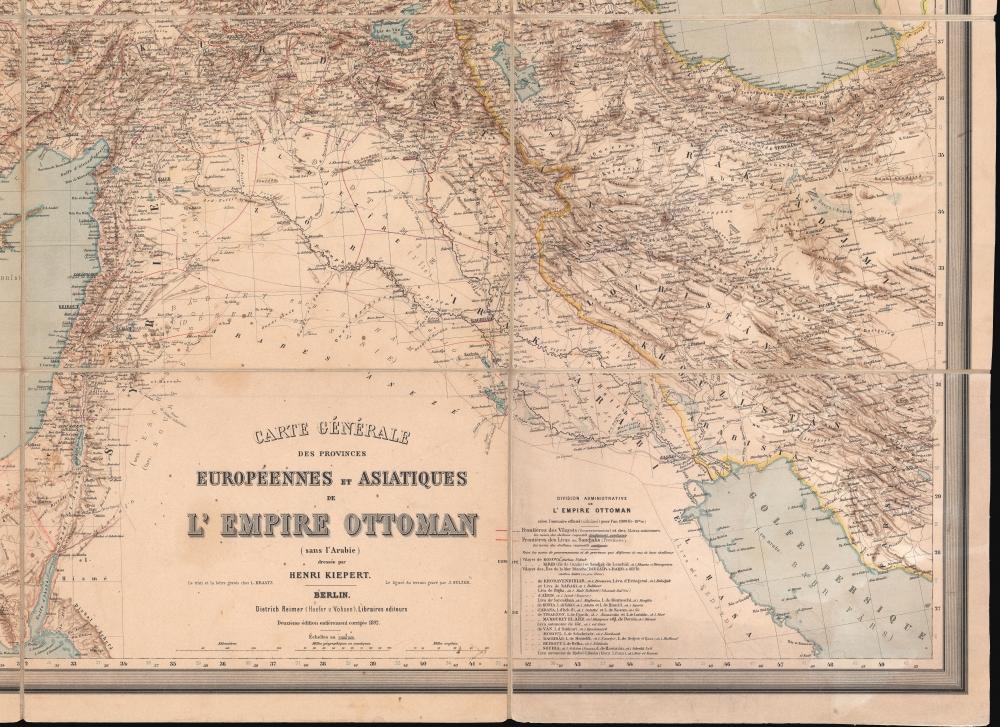 Carte Générale des Provinces Européennes et Asiatiques de l'Empire Ottoman (sans l'Arabie). - Alternate View 5