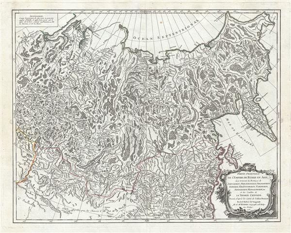 Partie Orientale de l'Empire de Russie en Asie, ou se trouvent les Provinces de Jakuckskoy, Nerckzinskoy, Selinginskoy, Ilimskoy, Krasnojarskoy, Narimskoy, Jenisseiskoy, Mangajeiskoy etc. et les Confins de la Tatarie Chinoise, Dressee, d'apres les Cartes de l'Atlas Russien.