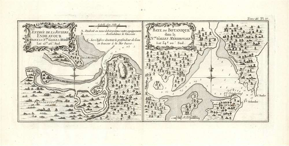 1774 Cook Harbor Maps of the Endeavour River and Botany Bay in Australia