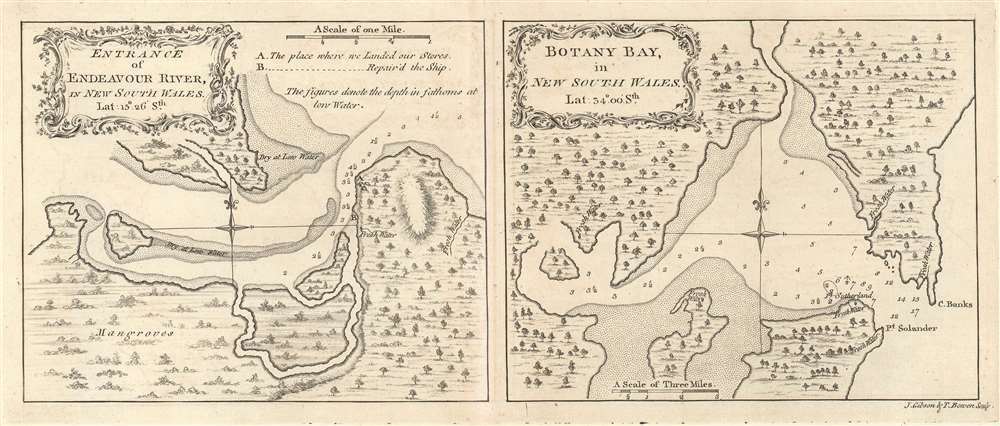 1773 Cook Maps of the Endeavor River and Botany Bay, New South Wales, Australia