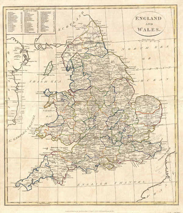 1799 Clement Cruttwell Map of England