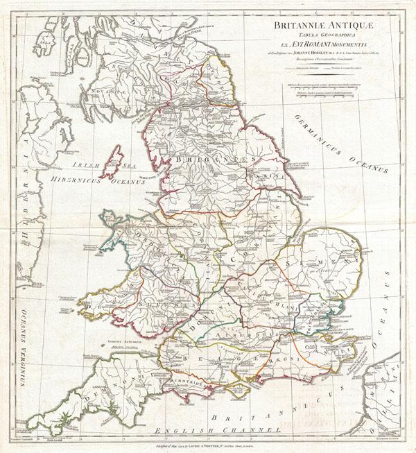 Britanniae Antiquae Tabula Geographica ex. Evi Romani Monumentis…