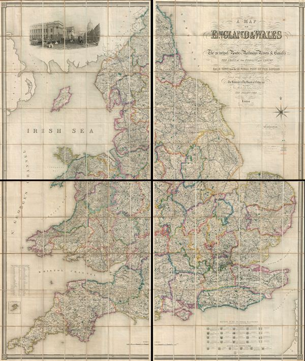 A Map of England & Wales, divided into counties, parliamentary divisions and dioceses : shewing the principal roads, railways, rivers & canals, and the seats of the nobility and gentry with the distance of each town from the General Post Office, London.