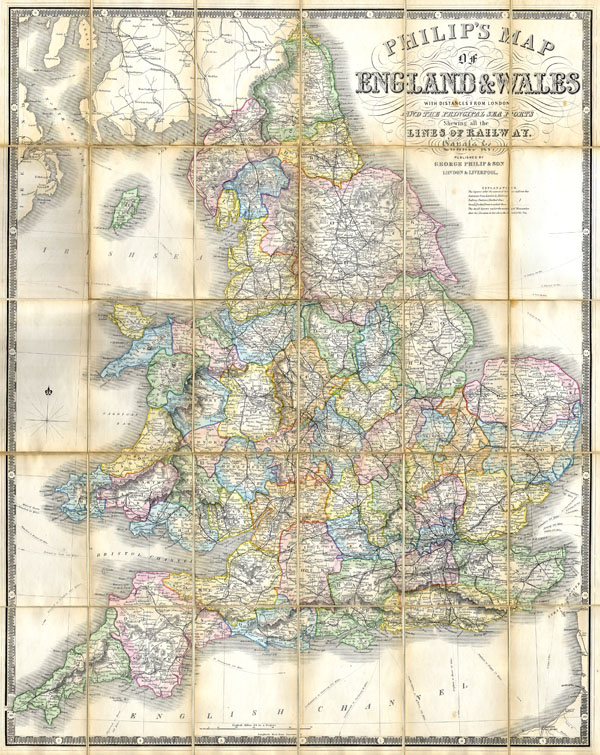 Philips' Travelling Map of England