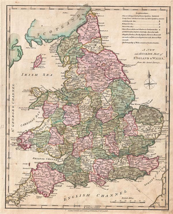 Map Of England And Wales.A New And Acurate Map Of England And Wales From The Latest Surveys