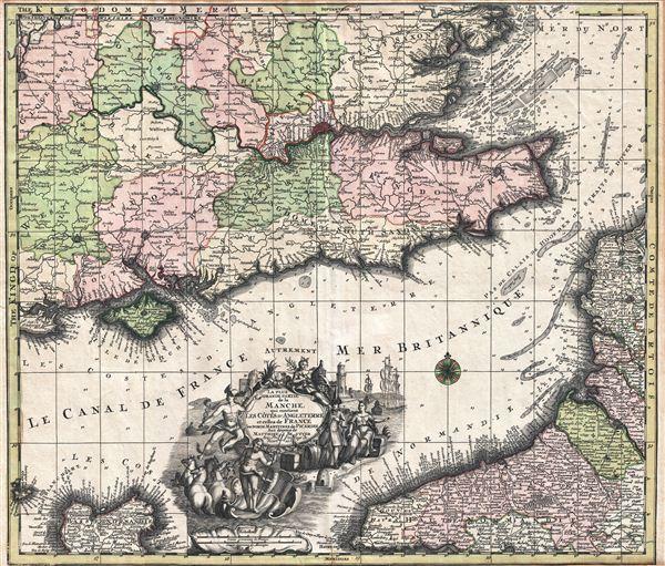 La Plus Grande Partie de la Manche, qui continent Les Cotes D'Angleterre et cells de France les Bords Maritimes de Picardie. - Main View