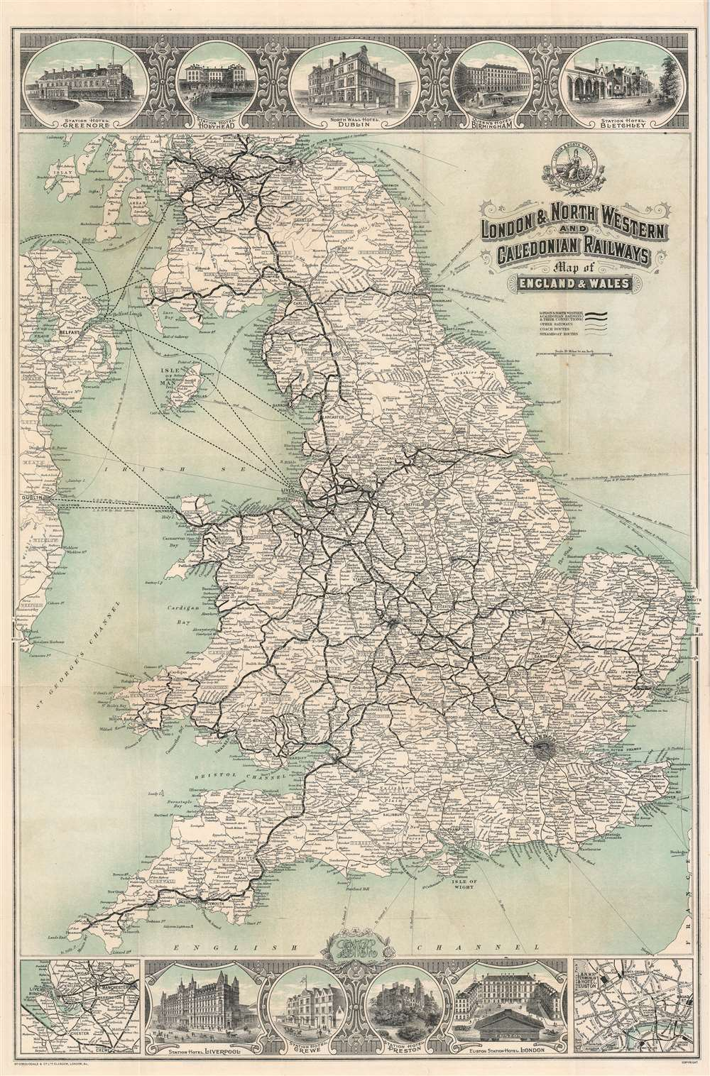1911 McCorquodale Railroad Map of England and Wales