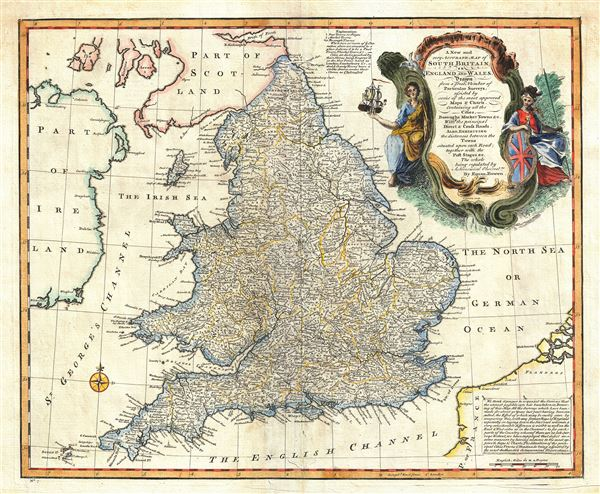A New and very Accurate Map of South Britain, or England and Wales.  - Main View