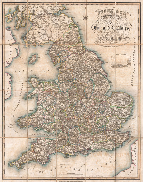 Pigot & Co.'s New Map of England & Wales with part of Scotland Including the New Lines of Canals, Rail Roads, &c.