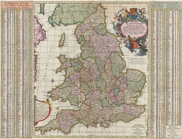 A New Mapp of the Kingdome of England, Representing the Princedome of Wales, and other Provinces, Cities, Market Towns, with the Roads from Town to Town.