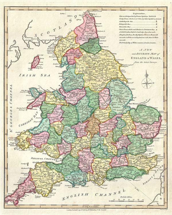 A New and Accurate Map of England and Wales, from the latest Surveys.