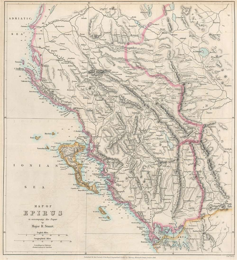 Map of Epirus to accompany the Paper by Major R. Stuart. - Main View