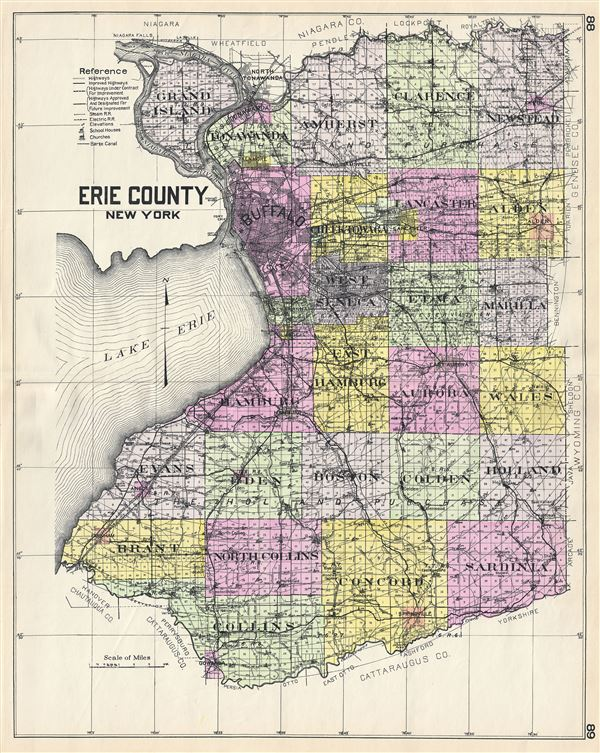 Counties New York Map.Erie County New York Geographicus Rare Antique Maps