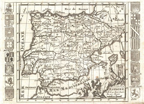 Map Of Spain 1700.L Espagne Geographicus Rare Antique Maps