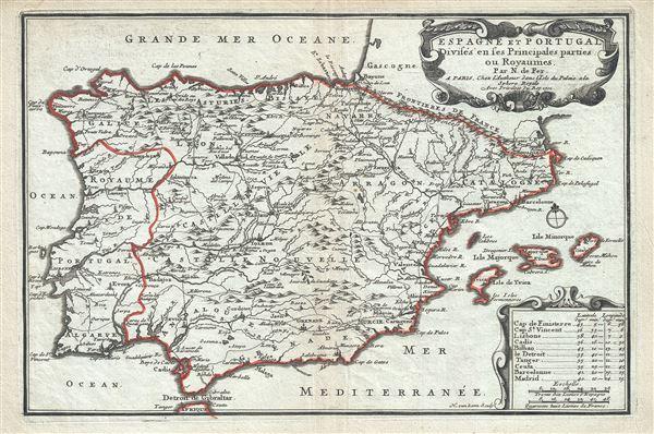 Espagne et Portugal Divises en ses Princiaples parties ou Royaumes.