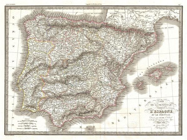 Carte de la Peninsule Comprenant l'Espagne et la Portugal.