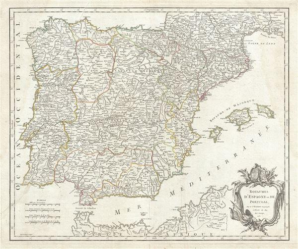 Carte des Royaumes d'Espagne et de Portugal dans laquelle sont tracees les routes des postes. - Main View