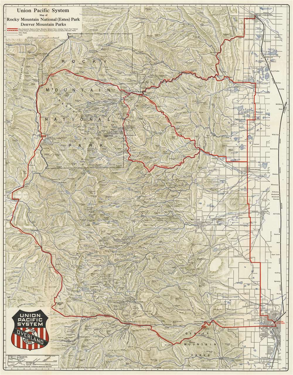 Union Pacific System Map of Rocky Mountain National (Estes ...