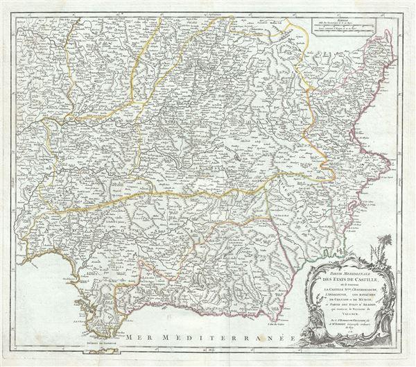 Partie Meridionale des Etats de Castille, ou se trouvent la Castille Nlle., l'Estremadure, l'Andalousie, les Royaumes de Grenade et de Murcie; et partie des Etats d'Aagon, qui contient le Royaume de Valence. - Main View