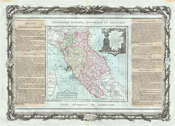 Etats De L'Eglise, De Toscane, Modene Et Luques, avec les Metroples Eclesiastiques et tous leurs Suffragans. - Main View