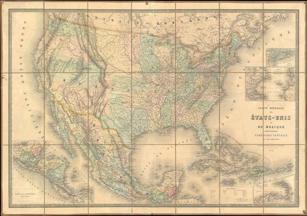 Carte Générale des États-Unis et du Mexique comprenant l'Amérique Centrale et les Antilles. - Main View