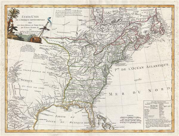 Etats-Unis De L'Amerique Septentrionale Avec Les Isles Royale, De Terre Neuve, De St. Jean, L'Acadie.