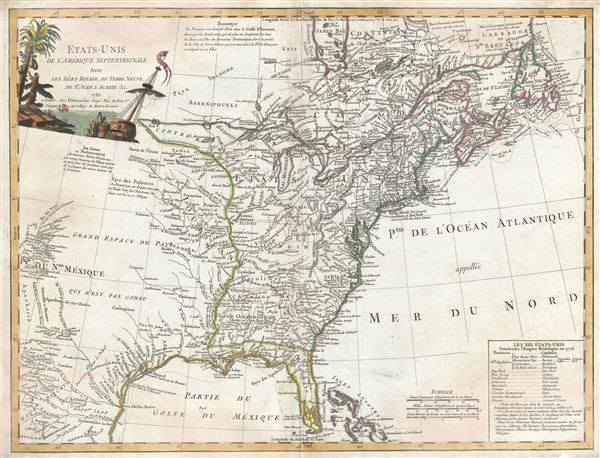 Etats-Unis De L'Amerique Septentrionale Avec Les Isles Royale, De Terre Neuve, De St. Jean, L'Acadie. - Main View