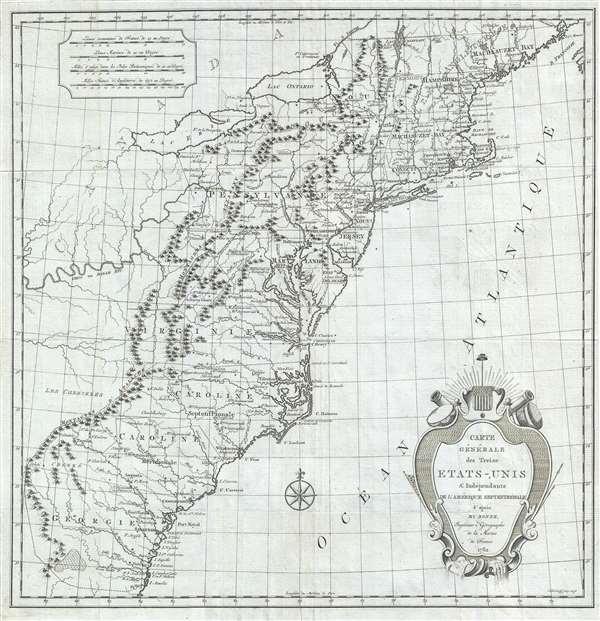 Carte Générale des Treize États-Unis et Indépendants de l'Amérique Septentrionale. - Main View