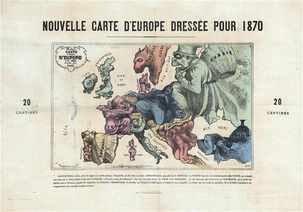 Nouvelle Carte D'Europe Dressee Pour 1870. / Carte drôlatique d'Europe pour 1870.