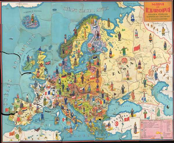 Mapa de Europa: Trajes típicos, danderas escudos y producciònes