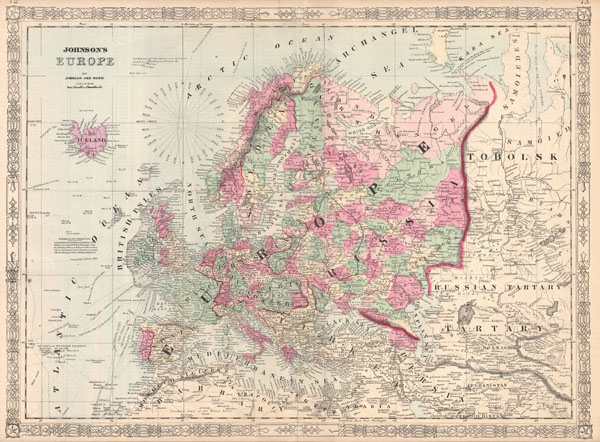 1864 Johnson Map of Europe