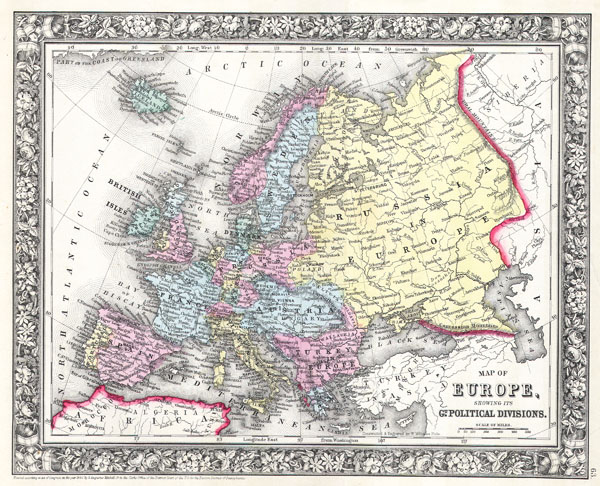 Map of Europe, showing its Gt. Political Divisions - Main View