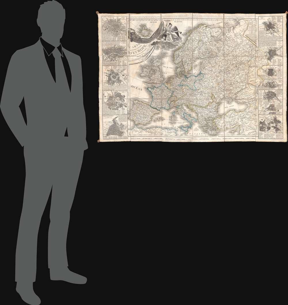 Carte Itinéraire et Politique D'Europe d'après les derniers traités de paix, avec les Plans des principales villes d'Europe. - Alternate View 1