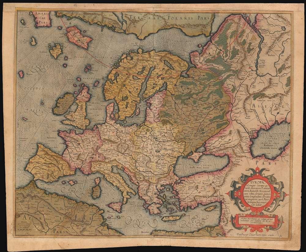 Europa, ad magnae Europae Gerardi Mercatoris P. imitationem, Rumoldi Mercatoris F. cura edita, servato tamen initio longitudinis ex ratione magnetis, quod Pater in magna sua universali posuit.