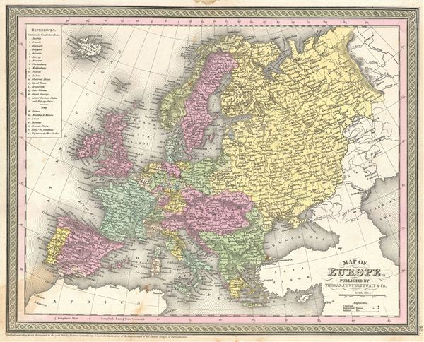 1854 Mitchell Map of Europe