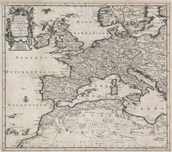 Tabula Geographica quae Continet Totam Fere Europam et Proxima Africae In usum Historiae Recentioris.