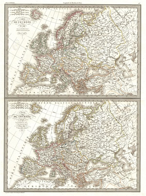 Carte de l'Europe en 1789. Carte de l'Europe en 1813. - Main View