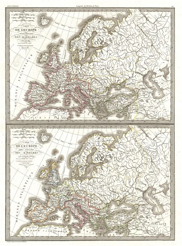 Carte de l'Europe avant l'invasion des Barbares vers l'an 350.  Carte de l'Europe apres l'invasion des Barbares vers la fin du 5e siecle.