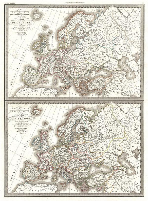Carte de l'Europe sous Charlemagne vers l'an 800.  Carte de l'Europe sous Charles-Quint vers l'an 1500.