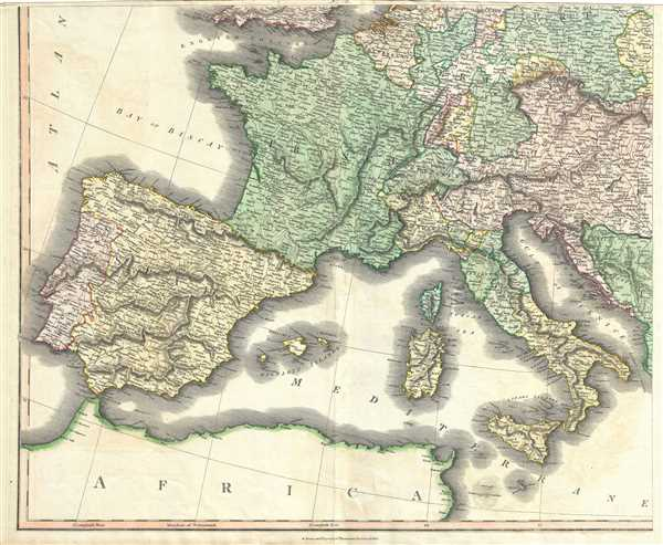 Map Of Spain Portugal And Italy.Europe After The Congress Of Vienna Geographicus Rare Antique Maps