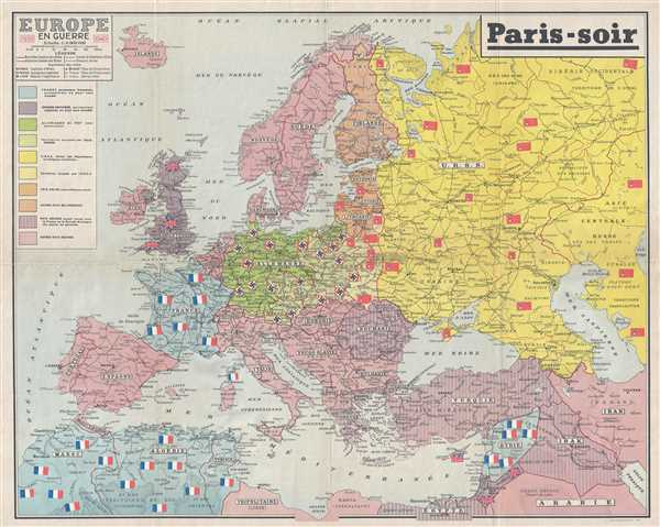 Paris On Europe Map.Europe En Guerre 1939 1940 Geographicus Rare Antique Maps