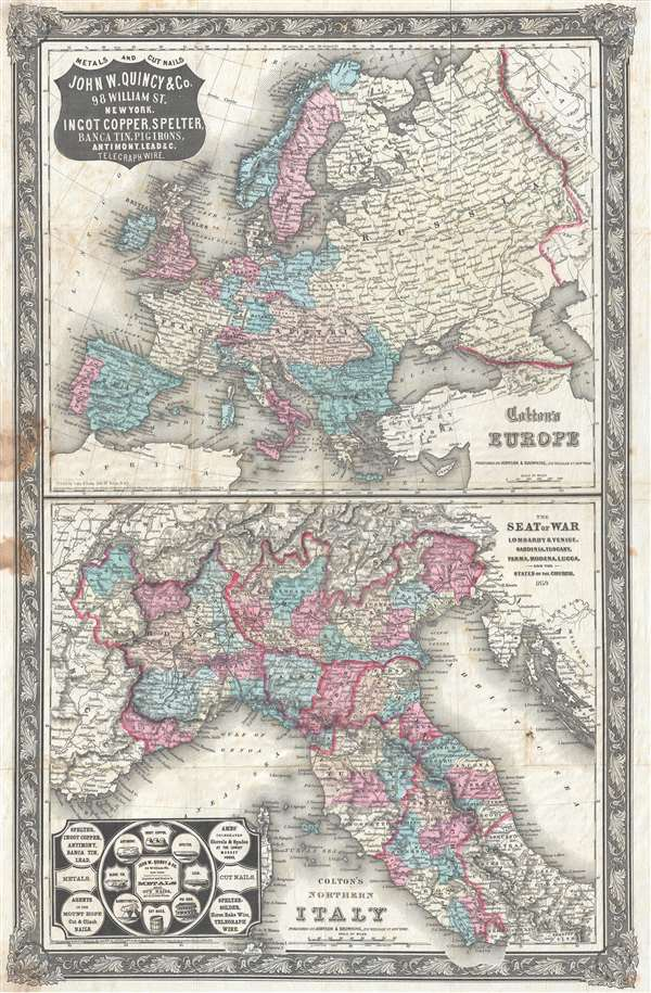The Seat of War Lombardy and Venice, Sardinia, Tuscany, Parma, Modena, Lucca, and the States of the Church, 1859.  / Colton's Northern Italy.  / Colton's Europe.