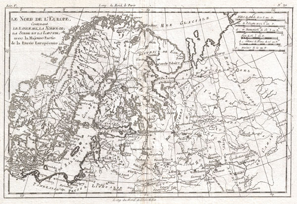 Le Nord de L'Europe, Contenant Le Danemark, La Norwege; La Suede et La Laponie avec la Majeure Partie de al Russie Europeenne.