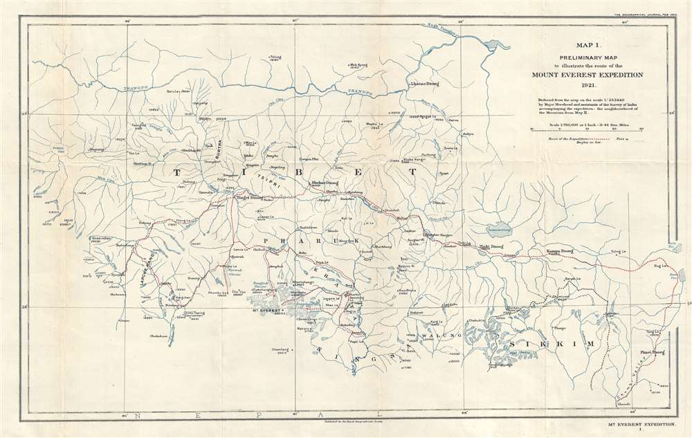 1922 Morshead Map of the Route of the First Western Expedition to Mt. Everest