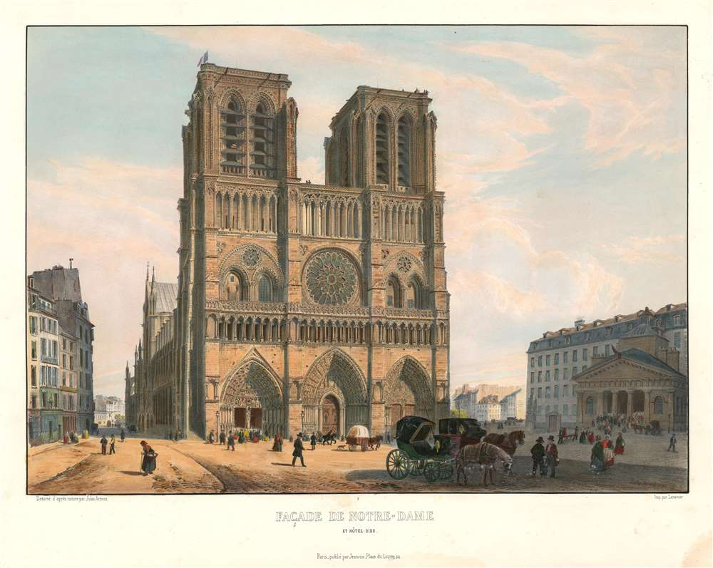 1845 Arnout View of the Façade of Notre Dame Cathedral in Paris, France