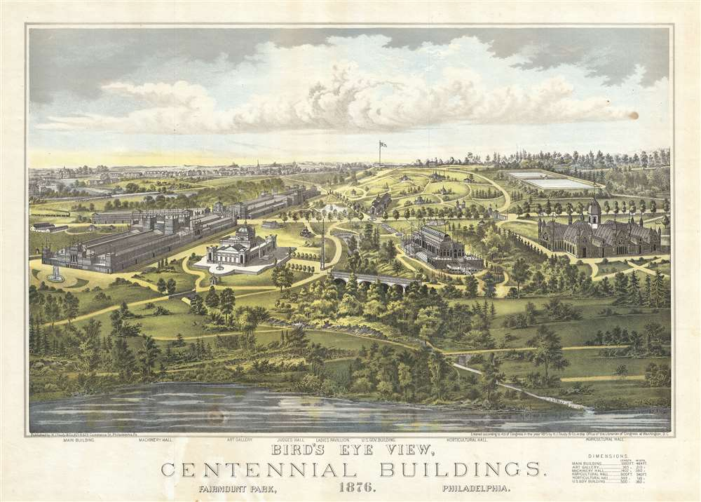 Bird's Eye View, Centennial Buildings, 1876.  Fairmount Park, Philadelphia.