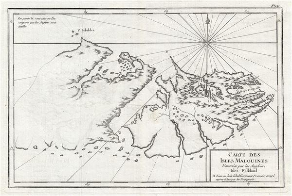 Carte des isles Malouines nommees par les Anglois, Isles Falkland. - Main View